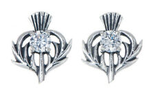 Sterling Silver Thistle Stud Earrings with an April Birthstone Centre