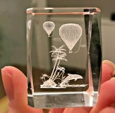LG Balloons Palm Tree Hologram Laser Etched Lead Crystal Paperweight In Box