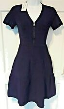 WOMEN'S DESIGNER DRESS SONIA RYKIEL NAVY RIBBED FIT AND FLARE DRESS XS