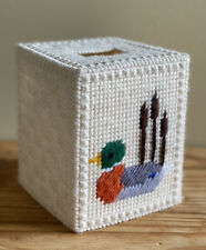 Vintage Tissue Box Cover Hand Made Stitched Loon Duck Hunting Nature