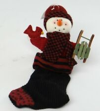 "PLUSH SNOWMAN IN STOCKING HOLDING SLED~12"" Mantel/Hanger Christmas/Holiday Decor"