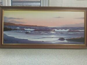 """Oil On Canvas Painting """"Sunset Over Rippling Waves"""" Framed +Signed By Brian King"""