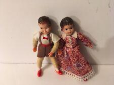 "Vtg German Doll House Dolls 3"" Boy Girl Poseable Thread Wrapped Bendable"