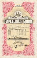 SA des Papeteries Godin, accion, 1953 (Siege a Huy)