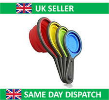 Silicone Measuring Cups x 4 Collapsible Spoons Baking Folding Coloured UK Seller
