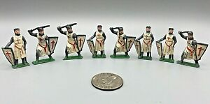 (8) Vintage Cherilea Lead Medieval Crusader Templar Knights Toy Soldiers GOOD
