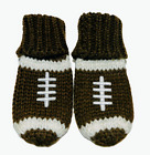 Baby Football Mittens Thumbless  Brown with White