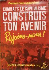 """AFFICHE """" jeunes communistes français"""" SLOGAN   """" Demain nous appartient"""" ..."""