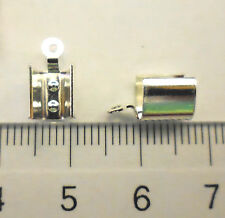 4 Stück Lederendteil groß Silber 5x7 mm Lederband Messing versilbert Verschlüsse