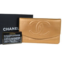 Authentic CHANEL CC Logo Clutch Bifold Wallet Purse Leather Bronze Italy 39BJ295