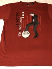 Red Jt Justin Timberlake disco ball concert tour T-shirt stretchy Small