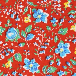 Quarter Vintage Flour FEEDSACK  36 x 10 Vivd Red, Blue, Yellow and Green Floral