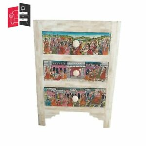 Made to Order 2 X Hand painted Mughal Maharaja Bedside Table Pair