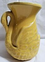 """USA Pottery Mid-Century Vase Swan Bird Shape Lemon Yellow 6"""" Tall"""