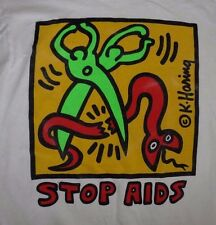 """Rare Vintage Keith Haring """"Stop AIDS"""" T shirt Size Medium  VGC Hard to Find!"""