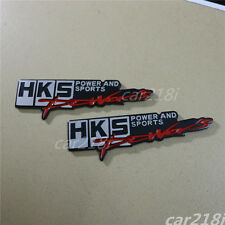 2PCS Big HKS Metal Emblem Sticker Badge Decal Turbo Racing Power and Sports Auto