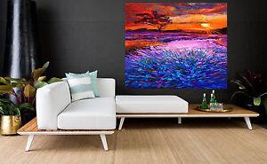 80cmx 80cm  SUPER SIZE CANVAS landscape art painting print tree hill sunrise