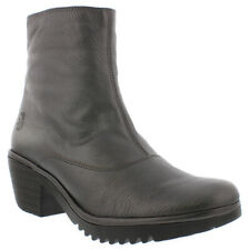 Womens Fly London Wine Idra Graphite Closed Toe Block Heel Ankle Boots UK 3-9