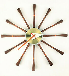 'George Nelson' Wooden Spool Spindle Clock Repro Quality MCM Retro