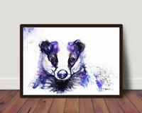 Badger,Sale,Original ,Watercolour ,Print ,Card, Gift, Wildlife,Animal,Art, wall