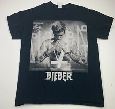 Justin Bieber Purpose Tour Concert Short Sleeve Shirt Size Medium Black (FADED)