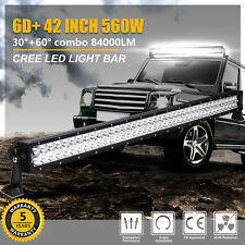 "42""INCH 560W CREE LED LIGHT BAR SPOT FLOOD COMBO WORK 6D+ LAMP OFFROAD SUV TRUCK"