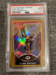 Kobe Bryant 2007-08 Bowman Chrome Gold Refractor #'d /99 PSA 9 Mint Lakers