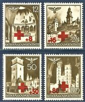 DR Nazi Reich Rare WW2 Stamp GG Castles Tower Church Poland Occupation Red Cross