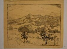 American Charcoal Drawing of New Mexico Landscape by Albert Lorey Groll