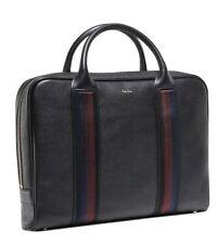 New PAUL SMITH  BAG NEW City Webbing Black Leather slim  Business Folio