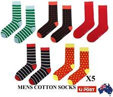 5X Colourful Mens Work Dress Wedding Socks Cotton Business Socks Size40-46Colour