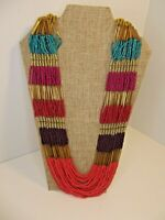 Vintage Seed Bead BOHO necklace Multi-color Bib Egyptian Tribal Colorful