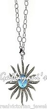 Superb Handcrafted Rose Cut Diamond & Blue Topaz Studded Antique Finish Necklace