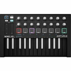 Arturia MiniLab MKII Inverted MIDI USB Cable and User's Manual Controller- Black
