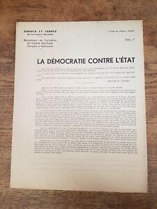 Régime Vichy Pétain, La DÉMOCRATIE CONTRE L'ETAT Tract ÉQUIPES et CADRES 1942
