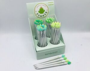 Mix of 4 x 0.5mm Cactus Gel Pen  Stationery Black Ink Pens Stocking Filler