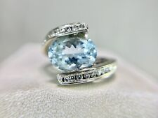 Vintage 14k White Gold Oval Shape Blue Aquamarine Round Diamond By-Pass Ring