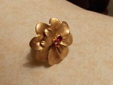Lia Sophia Wildflower Matte Gold ring with pink crystals in flower, size 5