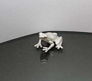 Solid Sterling Silver Frog Toad Figurine Full UK Hallmarks