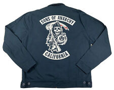 Sons Of Anarchy Jacket Zip Up Navy Blue Long Sleeve Size Large Reaper Crew
