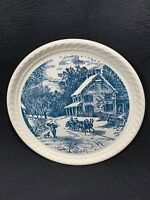 Currier & Ives Blue Royal China Rope Edge Pie Dessert Plate American Homestead