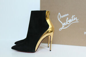 4.5 / 34.5 Christian Louboutin Black Suede Delicotte Pointy Toe Ankle Boot Shoe