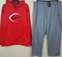 NIKE FOOTBALL THERMA DRI-FIT SWEATSUIT HOODIE + PANTS RED GREY NEW (SIZE 4XL)