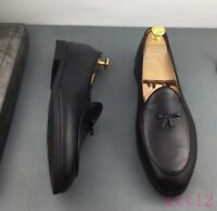 Mens Dress Men Leather Slip on Flat Bowtie Business Casual Loafer Shoes