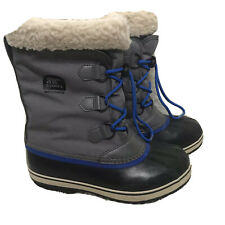 Sorel Yoot Pac Nylon Boots Youth Sz 6 Gray With Blue Laces
