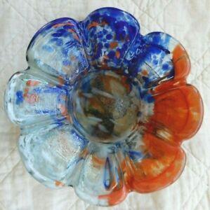 VINTAGE MID CENTURY MODERN MILLEFIORI MURANO ART GLASS CANDY DISH BOWL FLOWER