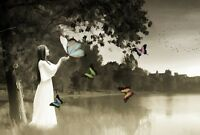 """oil painting handpainted on canvas""""A woman beside the river,butterflies""""@1801"""