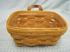 Longaberger 1998 Small Oblong Basket w/ Leather Handle & Protector Vgc Ih