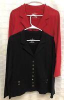 2 White Lotus Lifestyle Cotton Open Red Black Cardigan Yoga Size Small