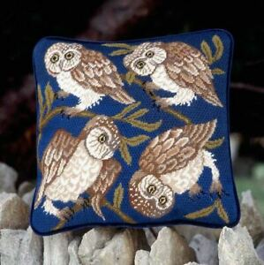 BETH RUSSELL William de Morgan OWLS tapestry needlepoint COMPLETED CANVAS KIT